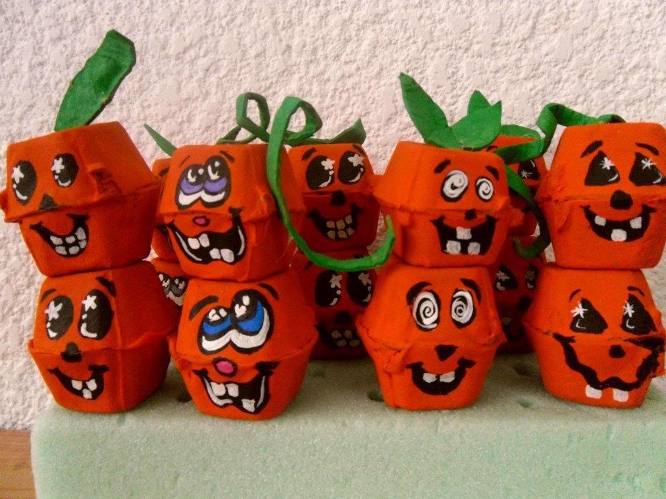 Halloween calabazas de carton de huevo egg carton for Decoracion de calabazas manualidades