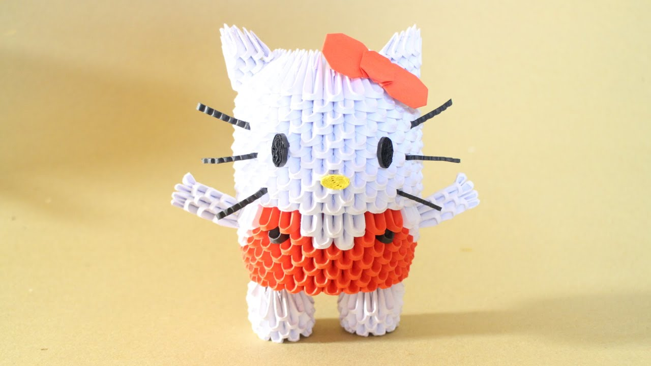 How To 3D Origami Hello Kitty