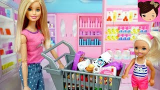 Barbie Doll House Dinner Party for Ken - Grocery Store & Barbie Pink Bedroom