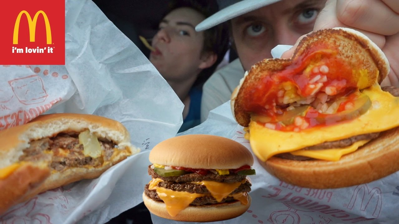 mcdonald's double cheeseburger eating review  youtube