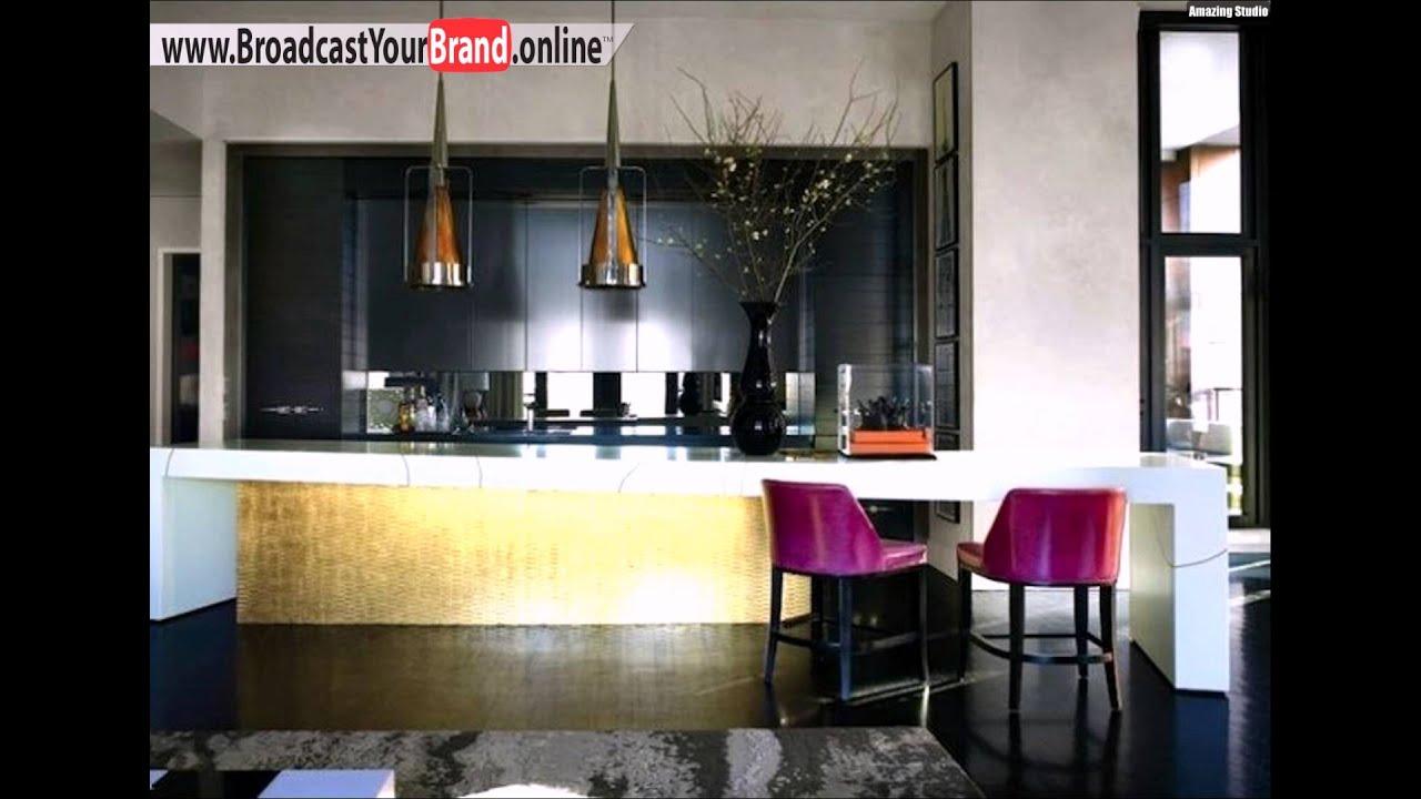 Wohnideen Küche Luxus Modern Goldene Fronten Schwarze Schränke