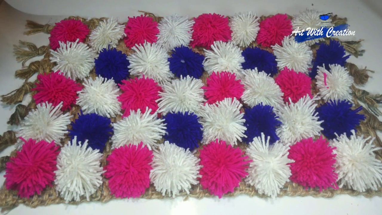 How To Make Pom Pom Ball Rugs Carpet Table Mat Door Mat Art With
