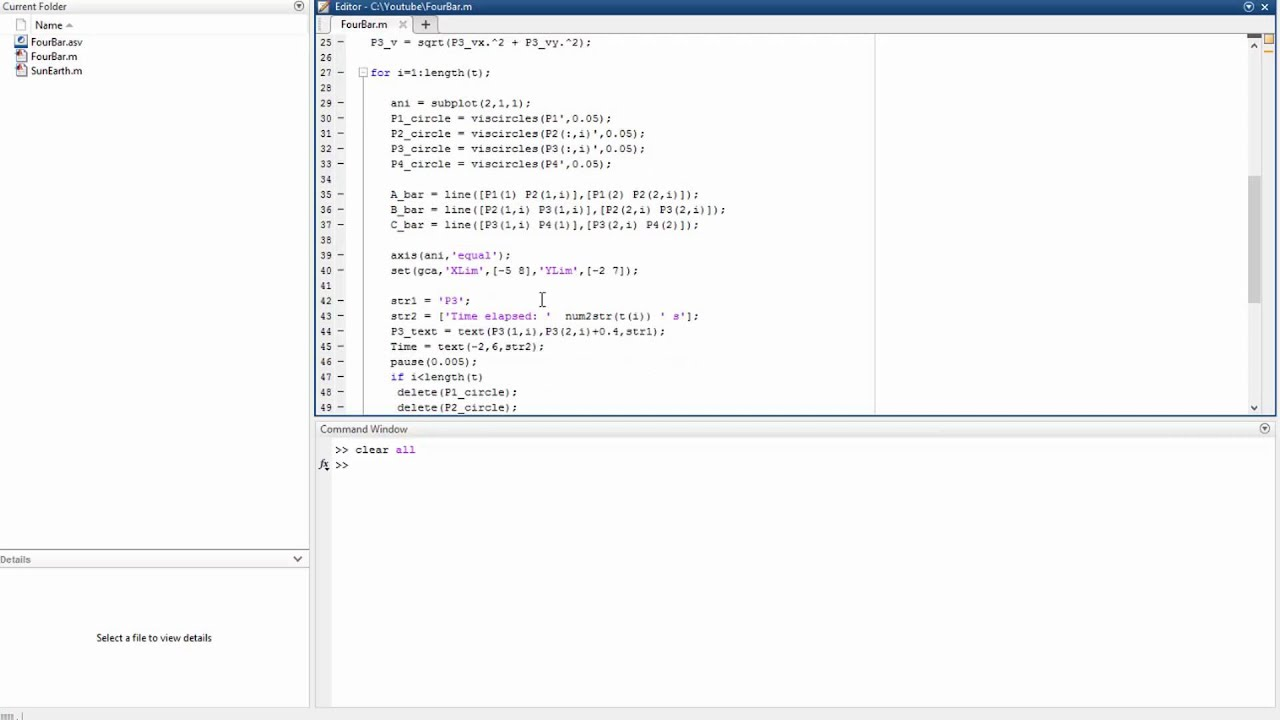 Matlab Tutorial - Four Bar Linkage Animation: Writing the code (2/2)