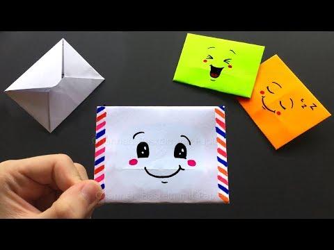 Origami Brief Basteln Mit Papier Süßes Emoji Diy Geschenk