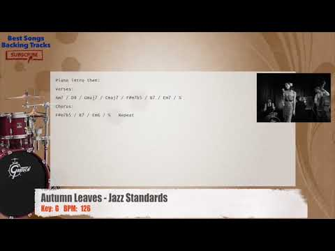 Autumn Leaves - Jazz Standards Drums Backing Track with chords and lyrics