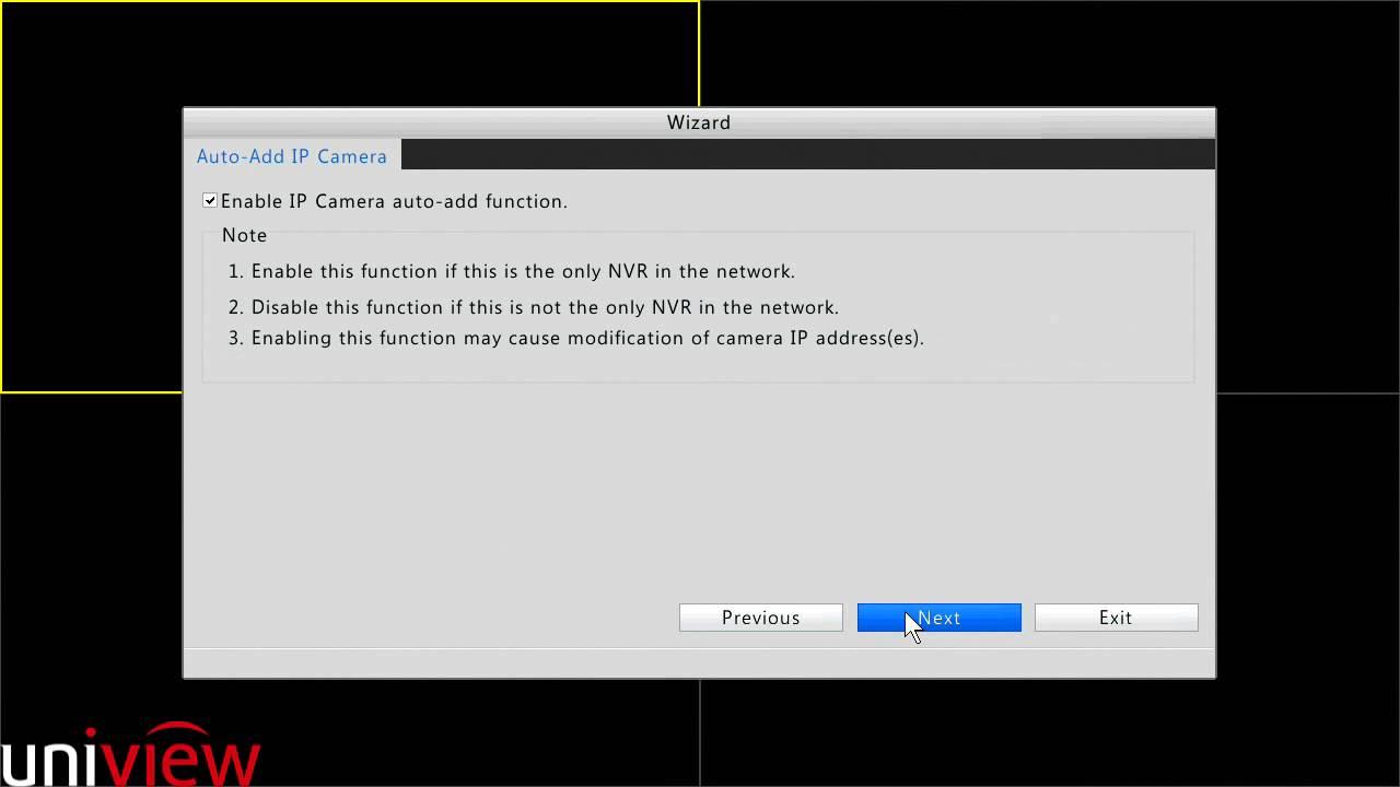 Quick Add Uniview IP Camera Through Startup Wizard