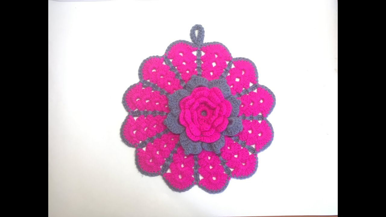 Кухонная прихватка цветок крючком/Kitchen Tack Flower Crochet