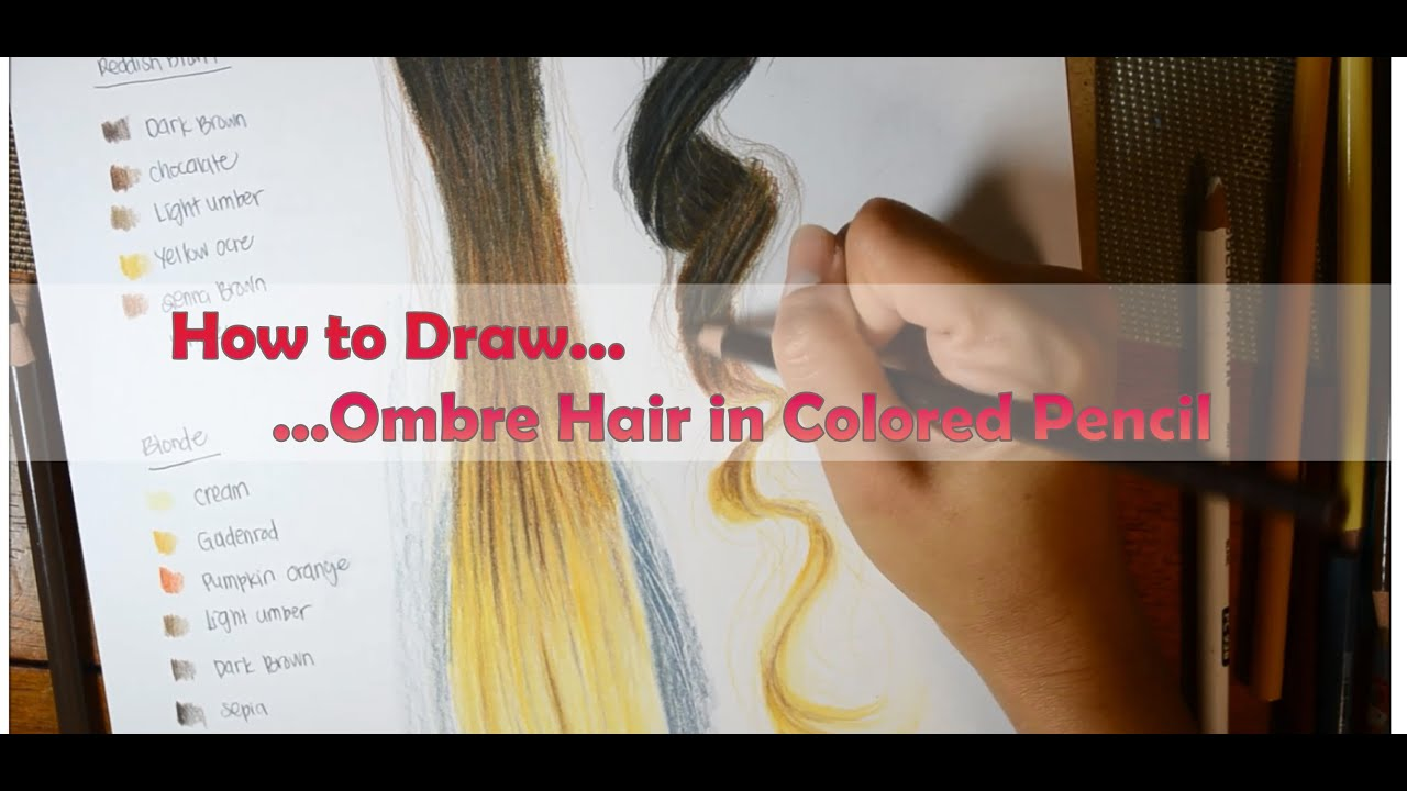How To Draw Ombre Hair Black Dark Brown Reddish Brown And Blonde