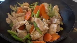 Thai Chicken and Asparagus Stir Fry - Thai/ English Language