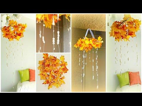 Fall Decor DIY: Fall Leaves Chandelier!