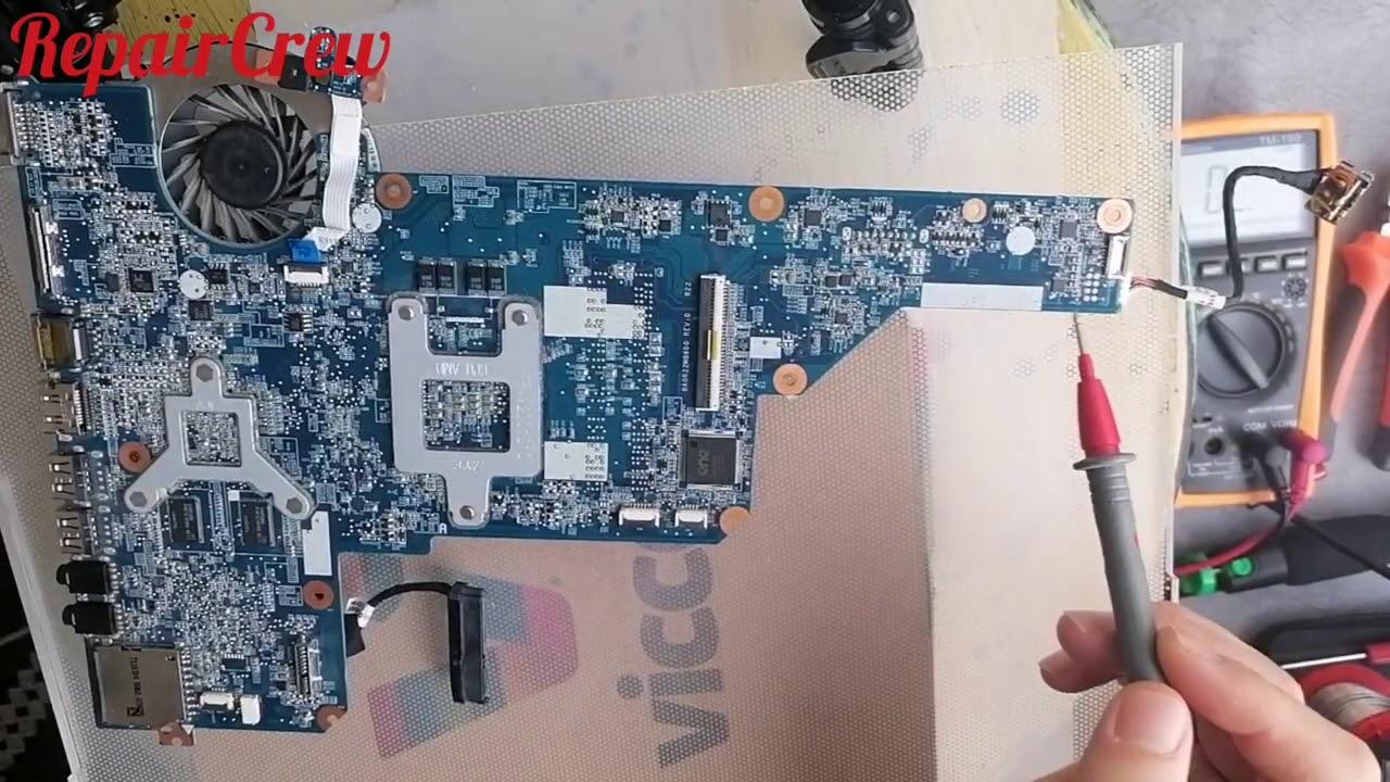 Hp Laptop Anakart tamiri, Notebook tetik almıyor, siyah ekran sorunu, 19V Hattı ve bobin omaj ölçümü