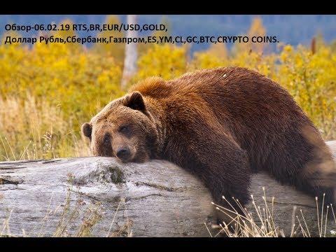 Обзор-06.02.19 RTS,BR,EUR/USD,GOLD, Доллар Рубль,Сбербанк,Газпром,ES,YM,CL,GC,BTC,CRYPTO COINS