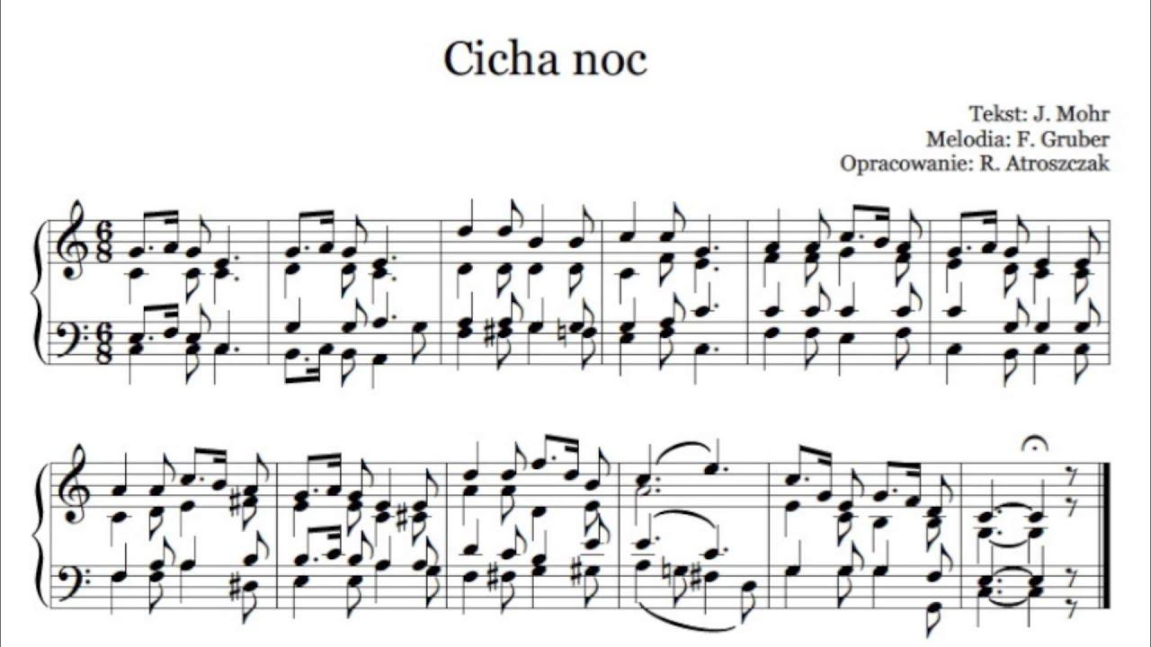 Niesamowite Cicha noc - nuty i tekst pdf na organy lub pianino do kolędy - www WG48