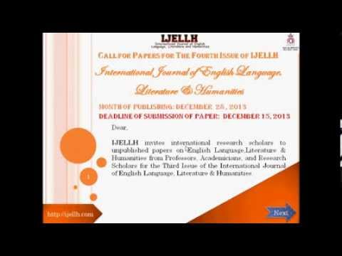 Online Journal Call for Papers V Issue of IJELLH