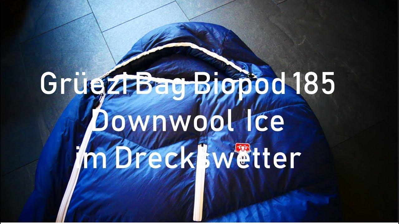 bester Preis schön billig gut aussehend Daunen Woll Schlafsack Grüezi Bag Biopod 185 Downwool Ice im Dreckswetter