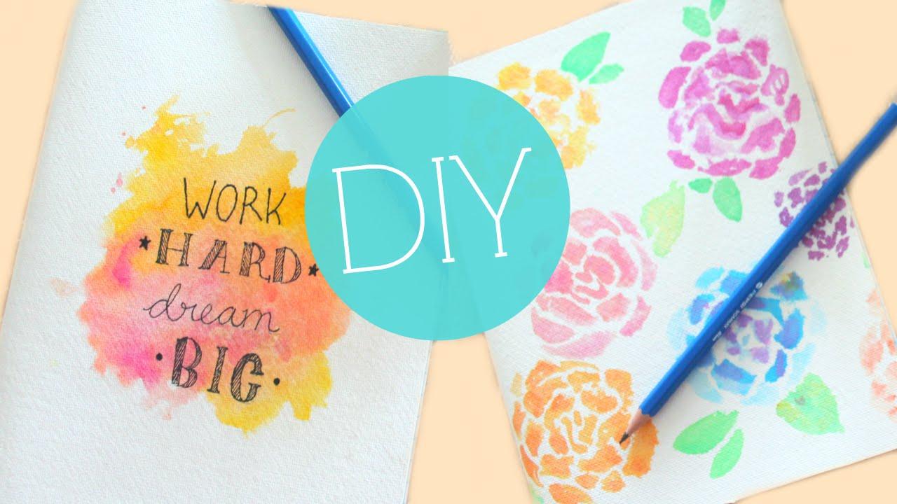 Diy Tumblr Watercolor Notebook Journal Cover Easy Diy