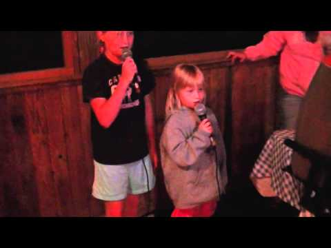 Macie E and Ryanna sing Karaoke at Elmer's on Otter Tail Lake