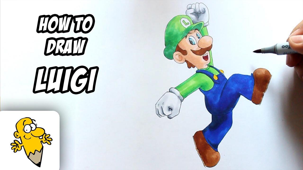How To Draw Luigi Super Mario Drawing Tutorial Youtube