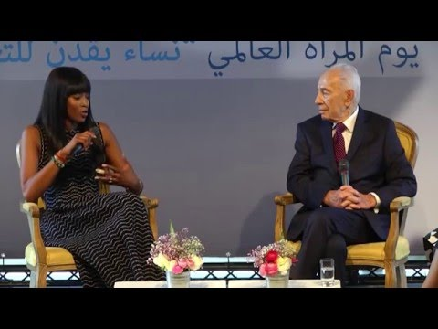 Naomi Campbell meets Shimon Peres in Israel