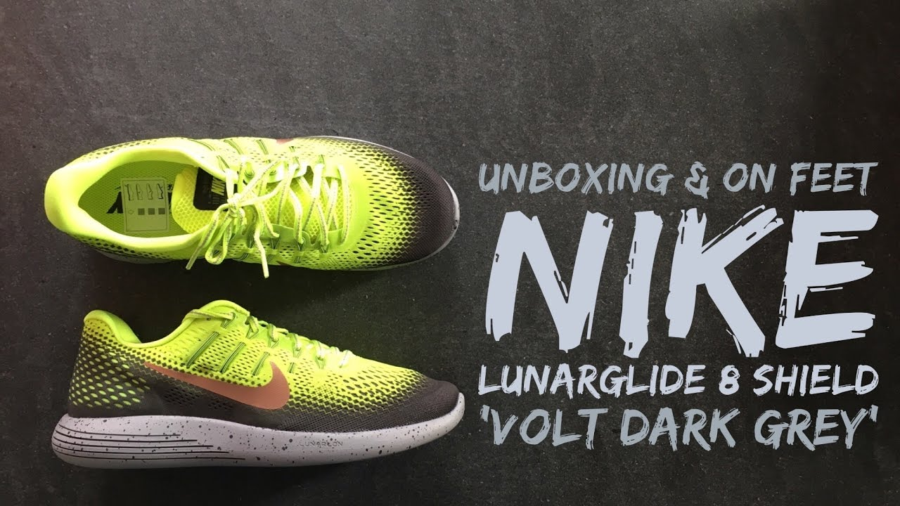 the best attitude e6d86 fbefd Nike LunarGlide 8 Shield  Volt Dark Grey    UNBOXING   ON FEET   running  shoes   brand new 2016   HD