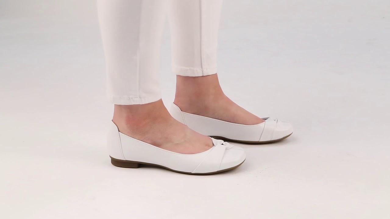 Gabor Frost White Leather Ballerina