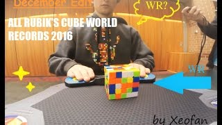 All Rubik's Cube Worlds Records 2016 December Edit - Singles and Averages