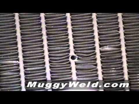 Soldadura de un radiador de aluminio en posición vertical