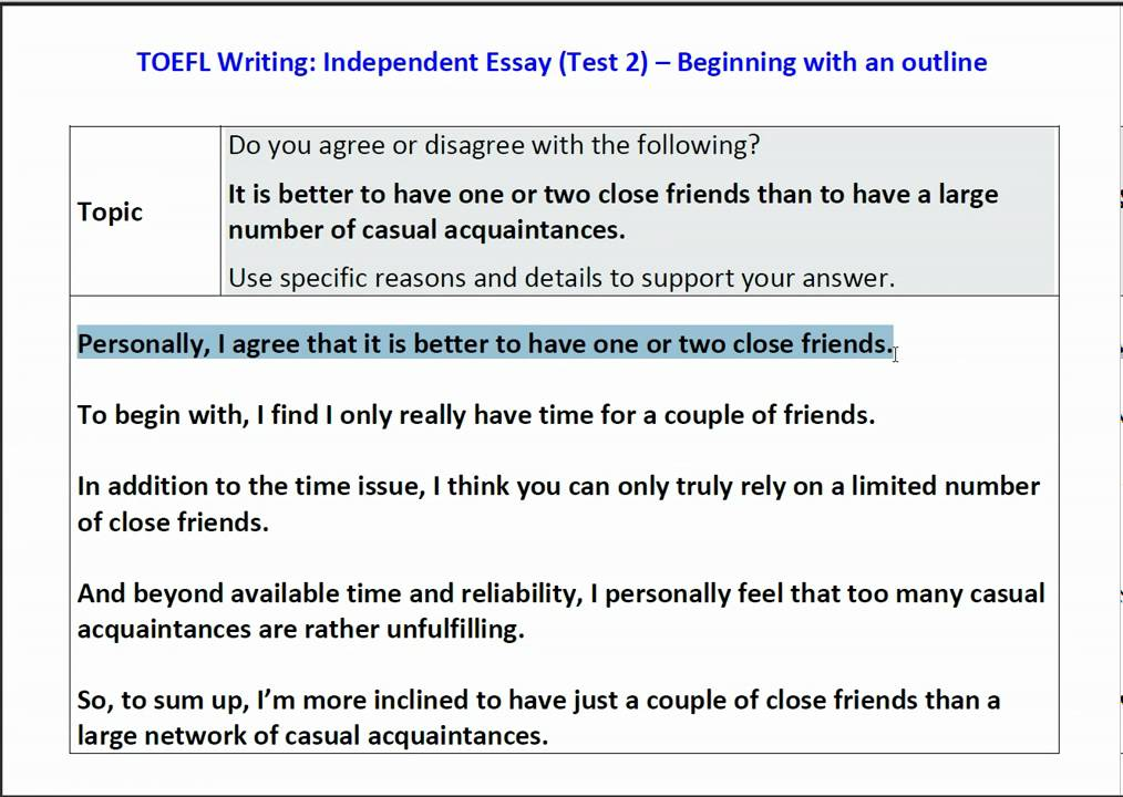 toefl independent essay question  · toefl writing question 2 help toefl speaking question 1 help - duration: writing a toefl independent essay.
