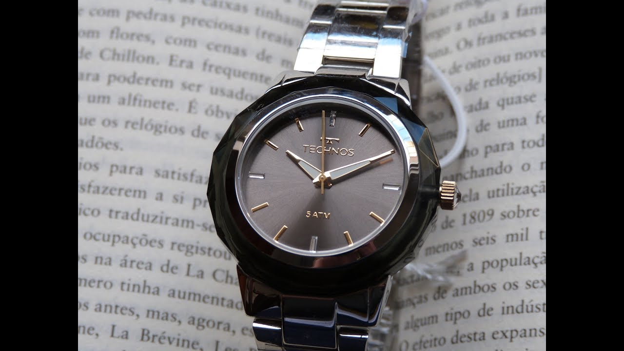Relógio Feminino Technos Prata Elegance 2035MCL 1C Cristais - YouTube d2e21f92c3