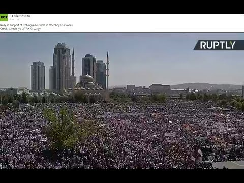 Rally in support of Rohingya Muslims in Chechnya's Grozny