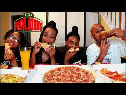 PAPA JOHN'S FAMILY MUKBANG! XL PEPPERONI CHEESY PIZZA!!