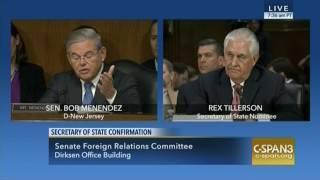 Senator Menendez Discusses Russian Aggression in Crimea with Tillerson
