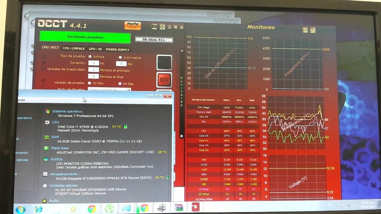 Corsair h100i CPU test occt