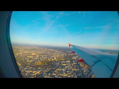 EasyJet A319 approaching and landing in Luxembourg Findel  airport (ELLX/LUX)
