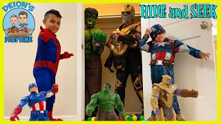 HIDE and SEEK with MARVEL ACTION FIGURES | Spider-Man's Magic Webs | DEION'S PLAYTIME