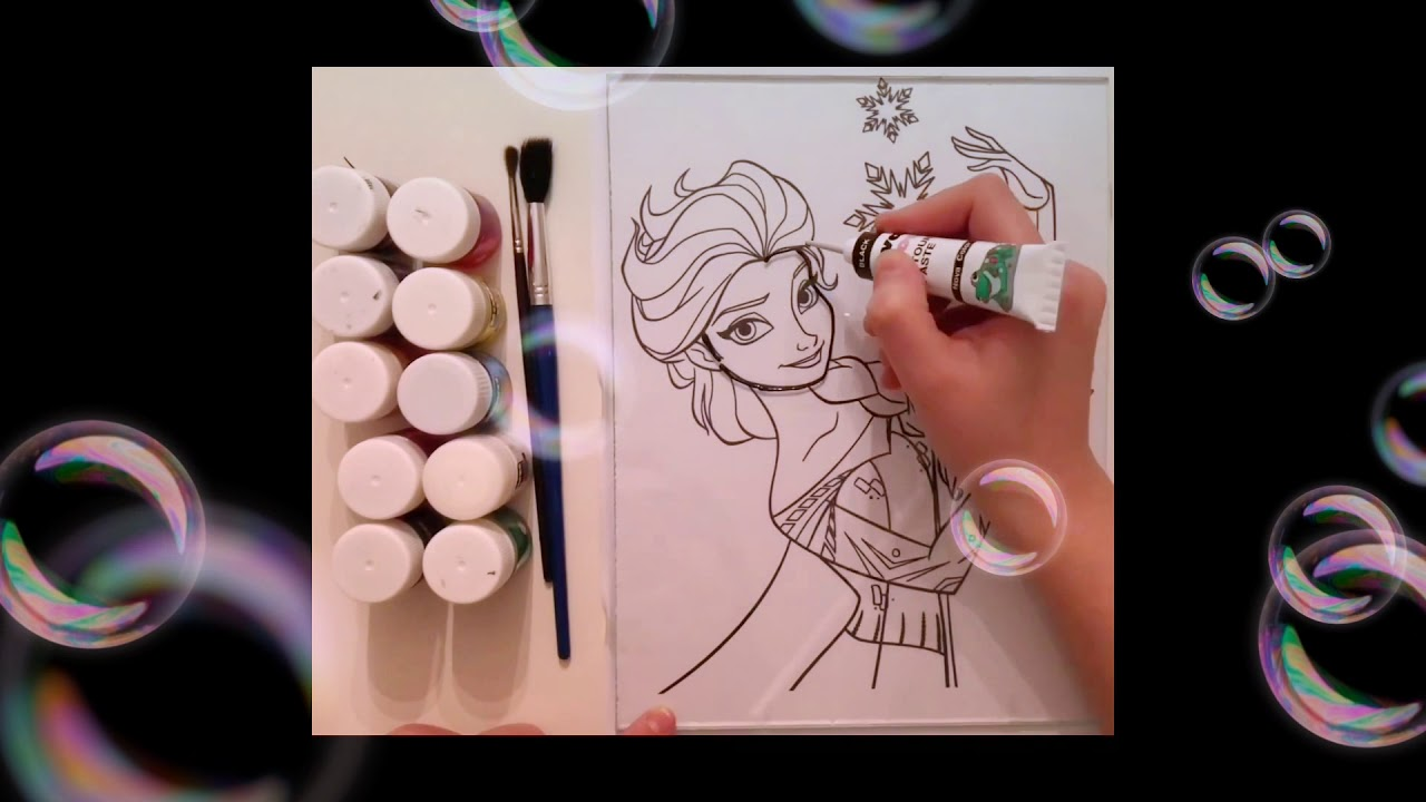 Frozen Elsa Painting Glass Frozen Elsa Ile Vitray Boyama Youtube