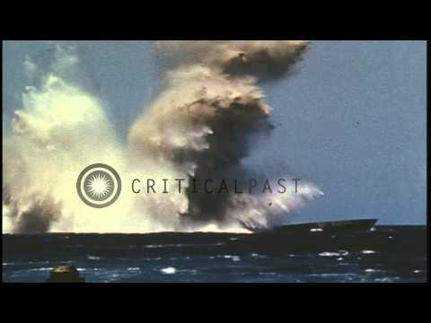 A Japanese submarine explodes and sinks after being torpedoed in the Pacific Ocea...HD Stock Footage