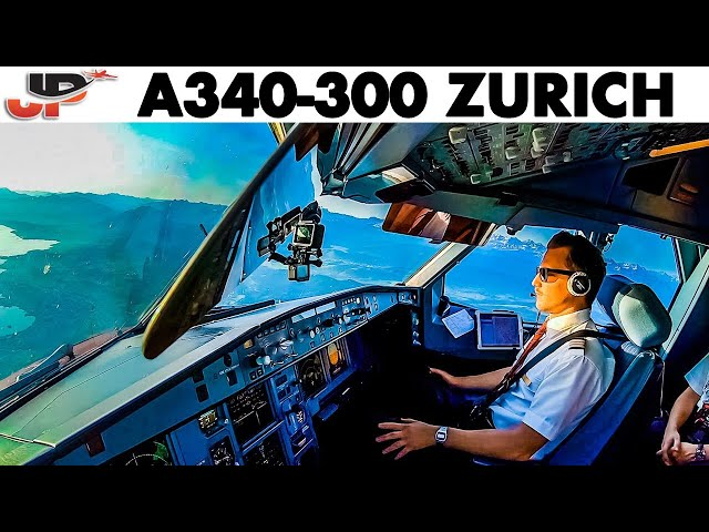 Beautiful Approach to Zurich in Cockpit Airbus A340