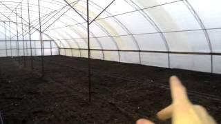 видео: Подвязка проволоки в теплице, накрытие плёнкой.