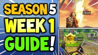 Fortnite WEEK 1 CHALLENGES GUIDE Season 5 - LIGHTNING BOLTS LOCATIONS, TREASURE LOCATION Risky Reels