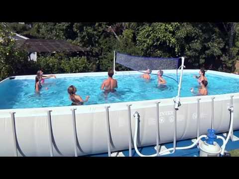 Intex ultra frame rechthoekig zwembad youtube for Rechthoekig zwembad
