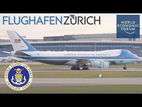 PRESIDENT TRUMP arrives ZURICH airport in SWITZERLAND | WEF 2018 [4K]
