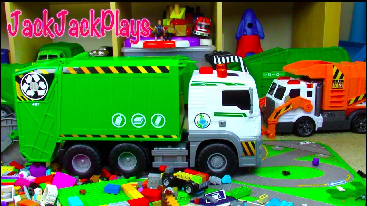 Garbage Trucks For Children Toy Unboxing Fast Lane Pump