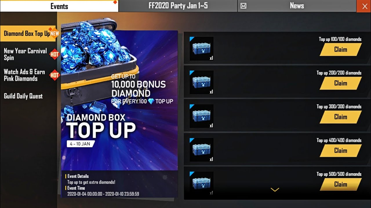 How To Get Free 10000 Diamonds In New Diamond Box Top Up Event Free Fire Topup Get Water Crate Youtube