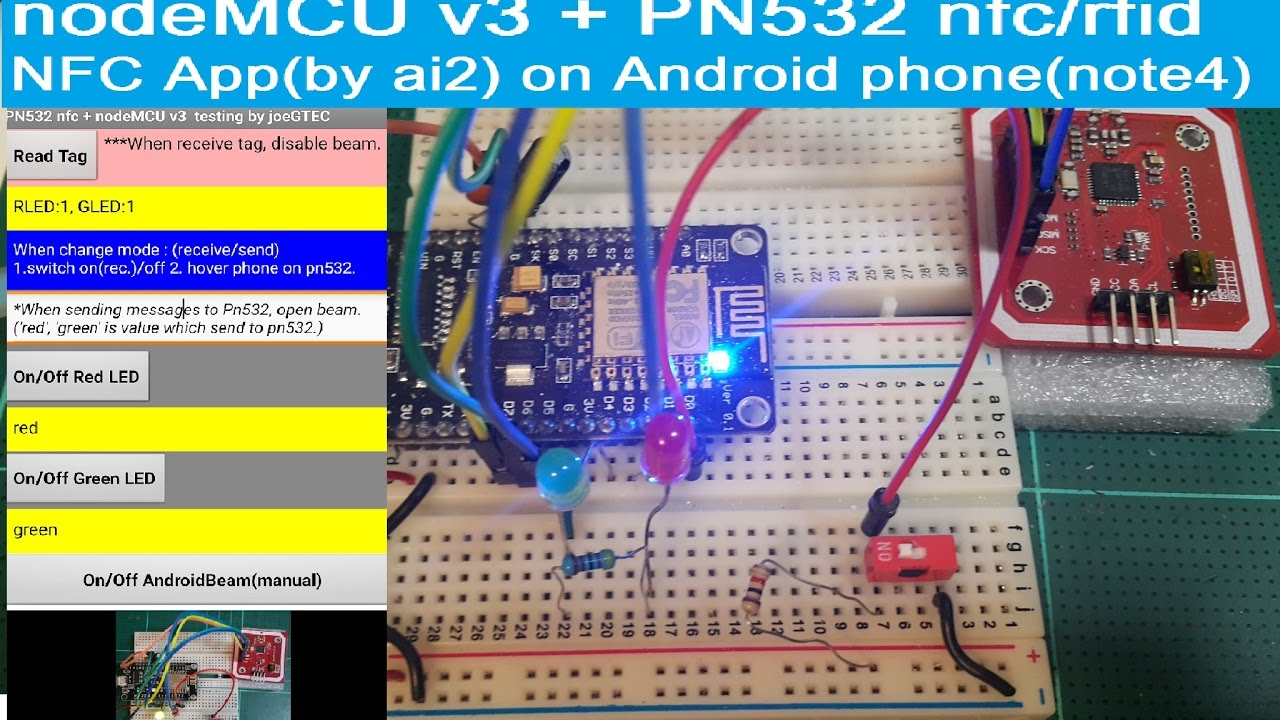 nodeMCU v3 +PN532(nfc) +NFC App(ai2) on android phone, comm  the ndef msg  between android and pn532
