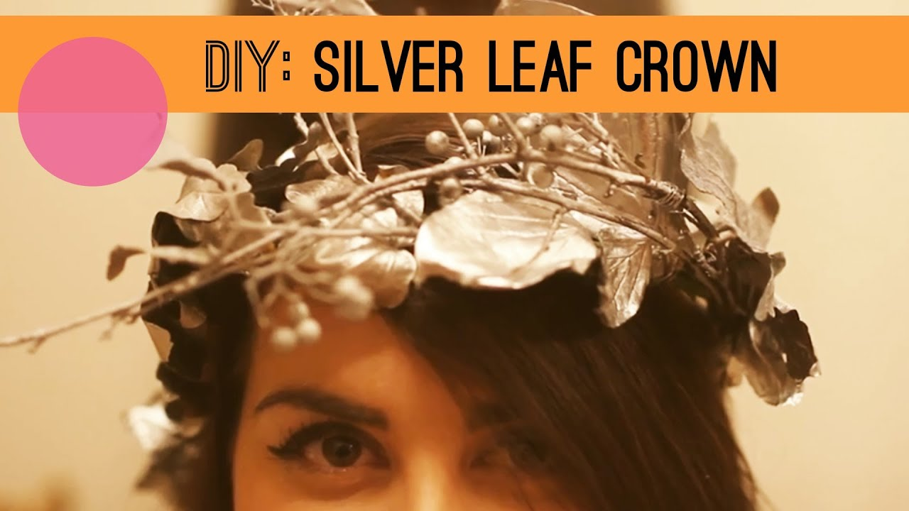 how to make a silver painted leaf crown - diy perfect for autumn