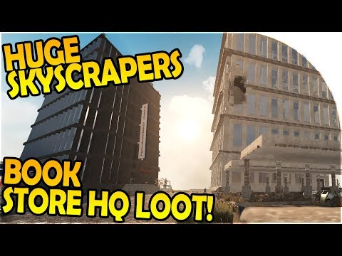 HUGE SKYSCRAPER + MILITARY CAMPS -GIANT BOOK STORE HQ LOOT - 7 Days to Die Alpha 16 Gameplay Part 29