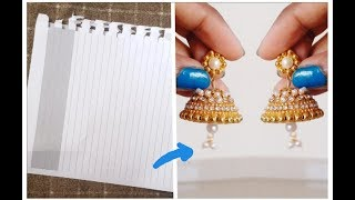 Jhumkas making with paper || DIY best out of waste jhumka base 2019 earrings