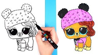 How to Draw LOL Pet Posh Pup | LOL Surprise Pets Series 4 Opening Drawing and Coloring for Kids