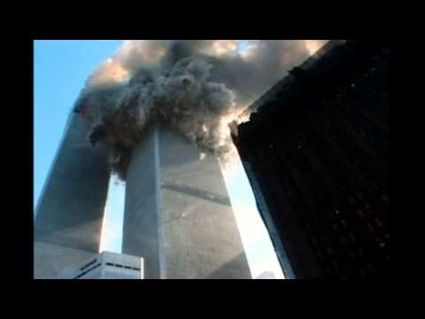 9/11 WTC controlled demolition: Incendiary bomb explodes in WTC 1 as WTC 2 is collapsing